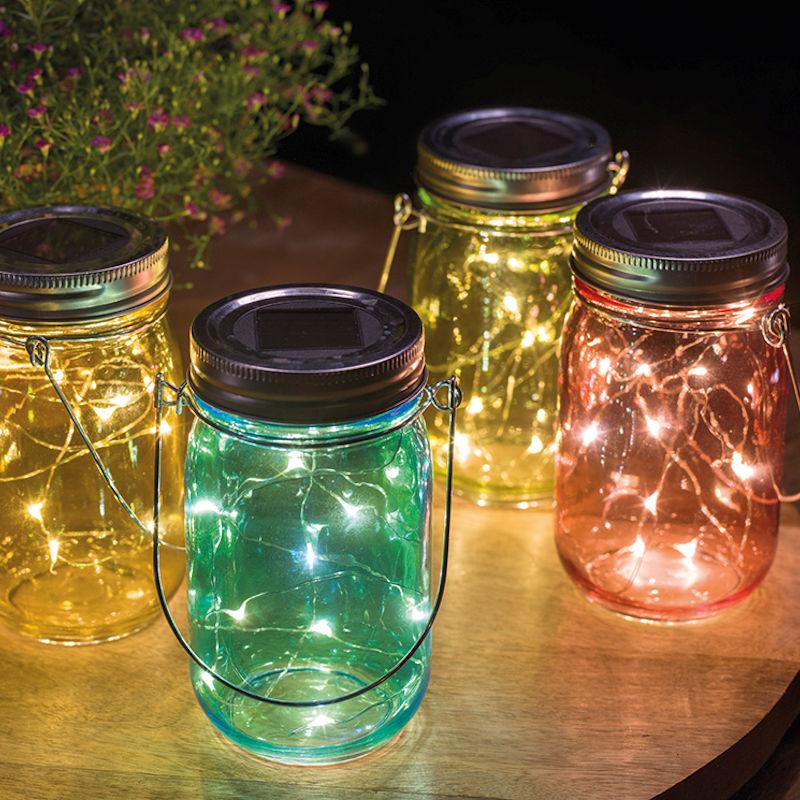 Universal Needs Weihnachtsbeleuchtung.Lumineo Solar Dekogläser Echtglas 4er Set Bunt 10 Led Warmweiß