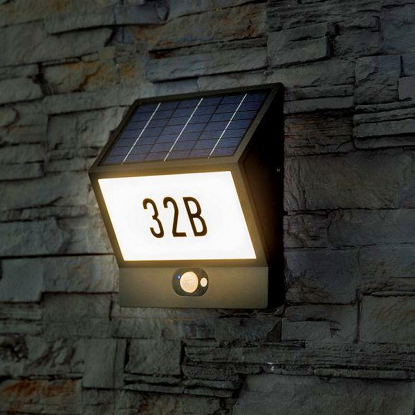 solar hausnummer andrea mit bewegungsmelder 60 led warmwei. Black Bedroom Furniture Sets. Home Design Ideas